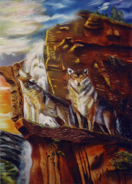 Arctic Wolf Painting - Howling For The Nightlife  by Thomas J Herring