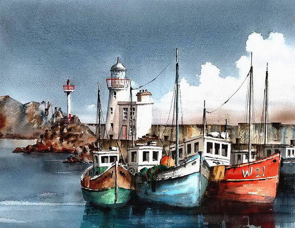 Painting - Howth Trawlers by Val Byrne