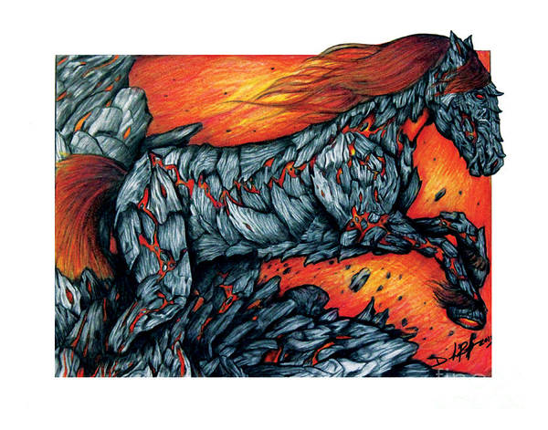 Lava Drawing - Hraunkot by Derrick Bruno-Rathgeber