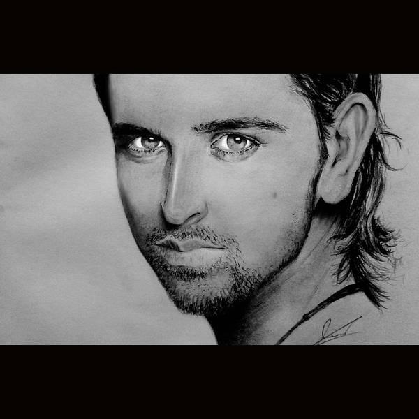Bollywood Wall Art - Drawing - Hrithik Roshan Portrait by Navid Nasir