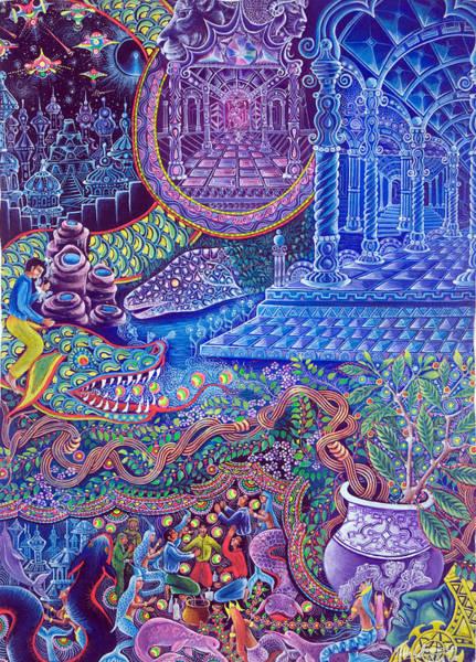 Art Print featuring the painting Huasi Yachana by Pablo Amaringo