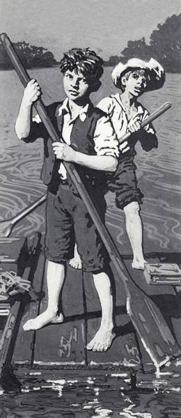 2 Drawing - Huckleberry Finn And Tom Sawyer  by English School