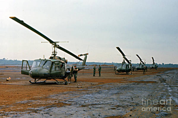 Photograph - Huey Bell Uh-1 Iroquois Helicopter Pleiku Vietnam 1969 by California Views Archives Mr Pat Hathaway Archives