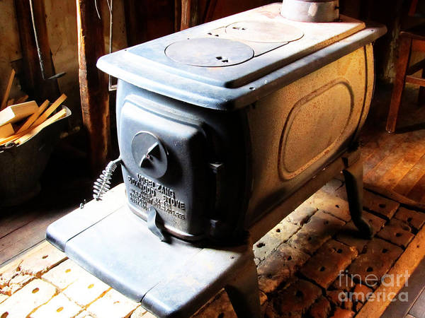 Bonneyville Mill Wall Art - Photograph - Huge Antique Wood Stove by Tina M Wenger