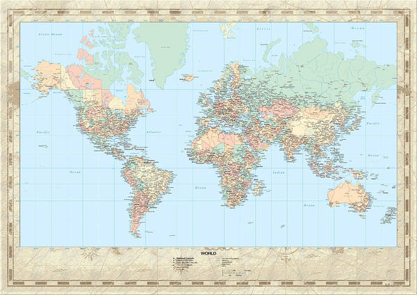 Projection Digital Art - Huge Hi Res Mercator Projection Political World Map   by Serge Averbukh
