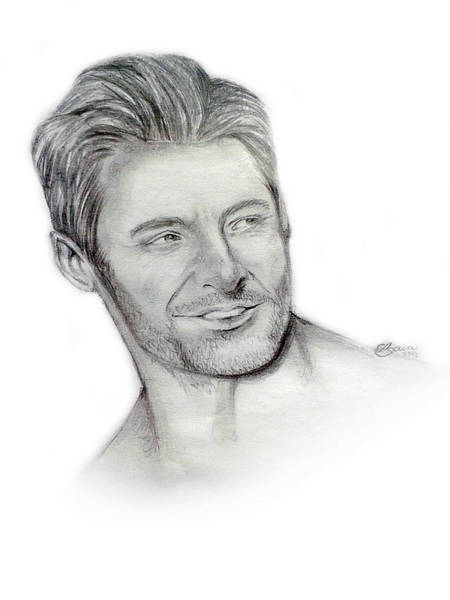 Wolverines Drawing - Hugh Jackman by Celine Bain