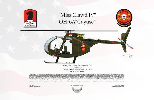 Arthur Hughes Digital Art - Hughes Oh-6a Cayuse Miss Clawd Iv by Arthur Eggers