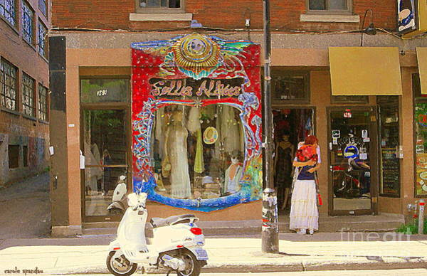 Painting - Hugs At Les Folles Allies Vintage Couture Friperie Farewell Goodbye Mont Royal City Scene C Spandau  by Carole Spandau
