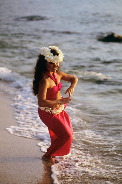 Hawaii Wall Art - Photograph - Hula Dancer Hawaii At Waters Edge Surf by Vintage Images