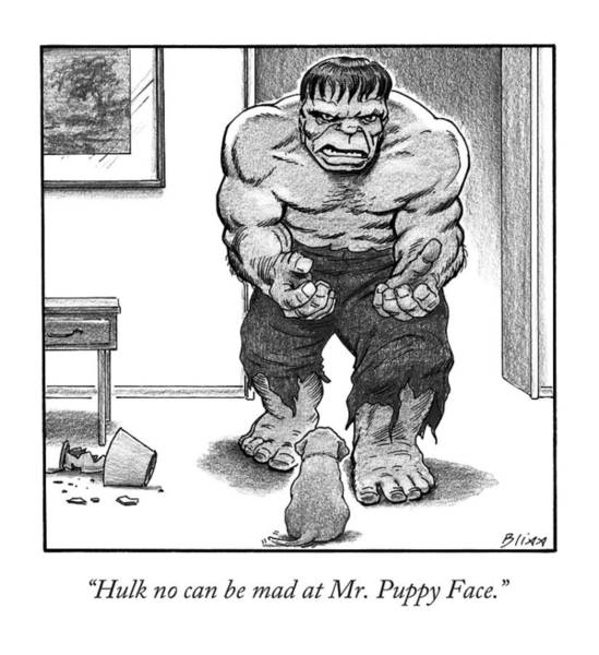 Wall Art - Drawing - Hulk No Can Be Mad At Mr. Puppy Face by Harry Bliss