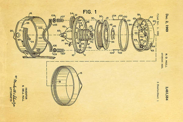 Fly Fishermen Photograph - Hull Spinning Reel Patent Art 2 1969  by Ian Monk