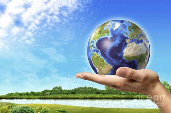 Mother Earth Digital Art - Human Hand Holding Earth Globe by Leonello Calvetti