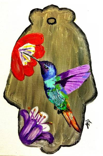 Avi Painting - Humming Bird Hamsa by Avishai Avi     Peretz