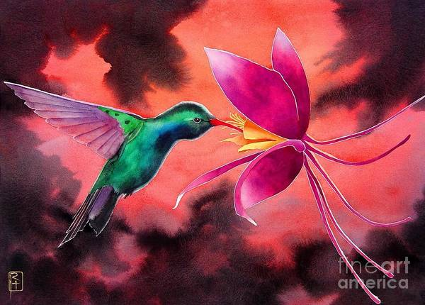 Wall Art - Painting - Hummingbird And Columbine by Robert Hooper