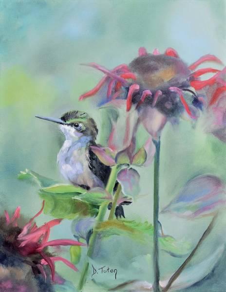 Painting - Hummingbird And Coneflowers by Donna Tuten