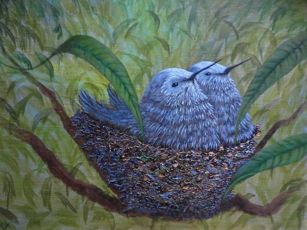 Wall Art - Painting - Hummingbird Babies by Xochi Hughes Madera