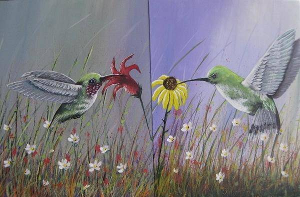 Painting - Hummingbird Pair by Lorraine Bradford
