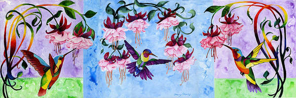 Painting - Hummingbird Triptych by Sherry Shipley