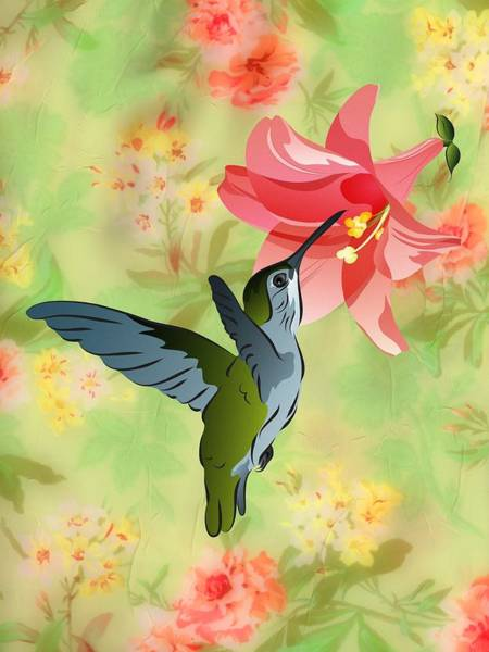 Hummingbird With Pink Lily Against Floral Fabric Art Print