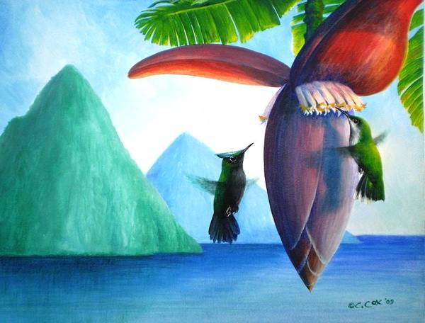 Painting - Hummingbirds And Bananas by Christopher Cox