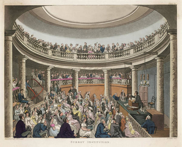 Wall Art - Drawing - Humphry Davy Lectures At The  Surrey by Mary Evans Picture Library