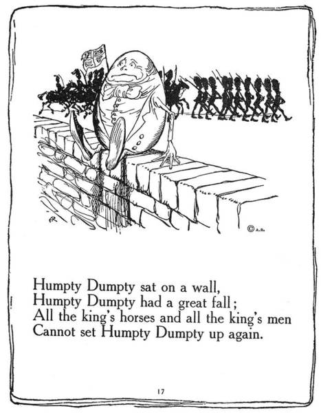 Mother Goose Drawing - Humpty Dumpty, 1913 by Granger