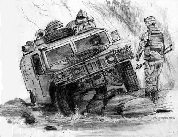 Humvee Drawing - Humvee-afghanistan by Jim Hubbard
