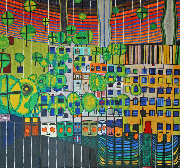 3d Painting - Hundertwasser The Three Skins In 3d By J.j.b. by Jesse Jackson Brown