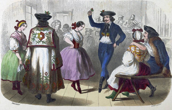 Traditional Dances Drawing - Hungarian Dancers by Trichon, Fran?ois-auguste (1814-after1879), French