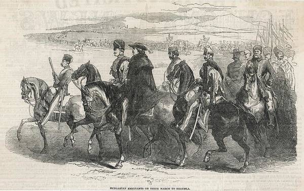 Wall Art - Drawing - Hungarian Emigrants Marching  Towards by  Illustrated London News Ltd/Mar