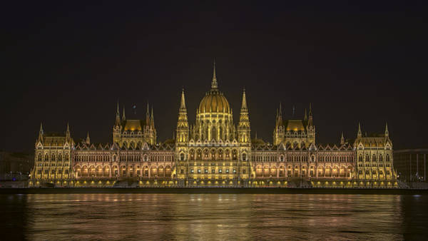 Hungarian Parliament Building Night Art Print