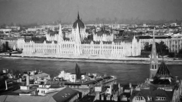 Photograph - Hungarian Parliament Impressions Bw by Joan Carroll