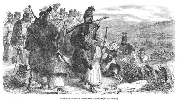 Wall Art - Drawing - Hungarian Peasants Arm  Themselves by  Illustrated London News Ltd/Mar