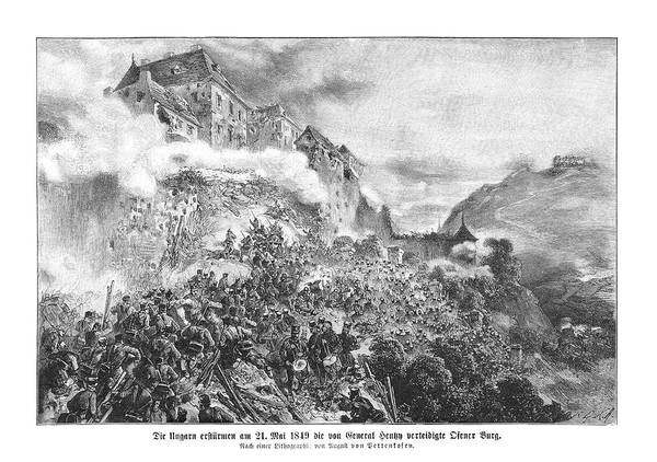 Wall Art - Drawing - Hungarian Rebels Storm Ofen  (also by Mary Evans Picture Library