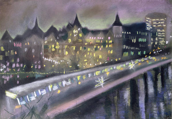 Wall Art - Photograph - Hungerford Bridge, From The South Bank, 1995 Pastel On Paper by Sophia Elliot
