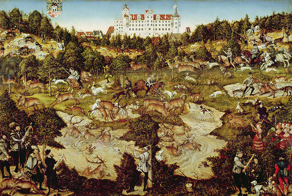Horseman Photograph - Hunt In Honour Of The Emperor Charles V Near Hartenfels Castle, Torgau, 1544 Oil On Panel See by Lucas, the Elder Cranach