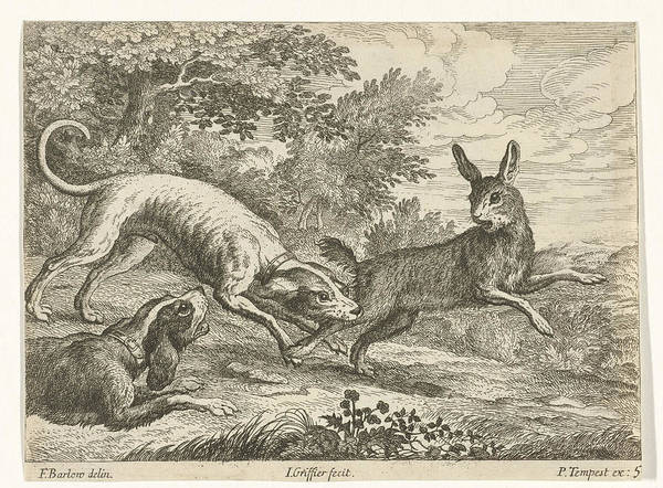 Hoof Drawing - Hunting A Hare, Jan Griffier I, Pierce Tempest by Jan Griffier (i) And Pierce Tempest