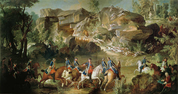 Horseman Photograph - Hunting In The Forest Of Fontainebleau At Franchard Oil On Canvas by Jean-Baptiste Oudry