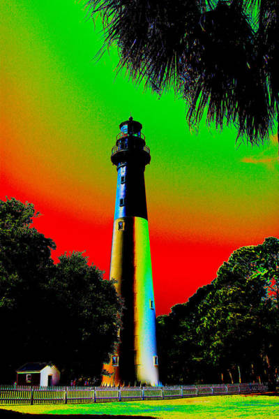Hunting Island Lighthouse Wall Art - Digital Art - Hunting Island Lighthouse Neon by Carla Black