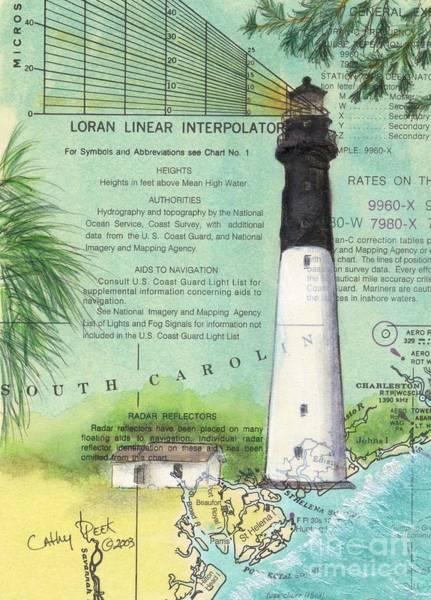 Hunting Island Lighthouse Wall Art - Painting - Hunting Island Lighthouse Sc Nautical Chart Map Art Cathy Peek by Cathy Peek