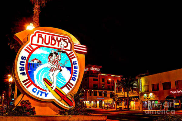 Wall Art - Photograph - Huntington Beach Downtown Nightside 2 by Jim Carrell