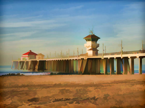California Beaches Digital Art - Huntington Beach Pier California by Flo Karp