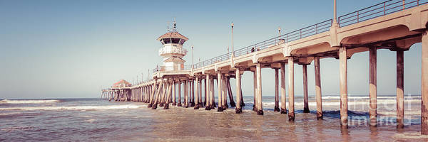 Wall Art - Photograph - Huntington Beach Pier Retro Panorama Picture by Paul Velgos