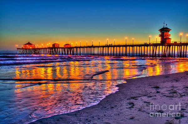 Huntington Beach Photograph - Huntington Beach Pier Sundown by Jim Carrell