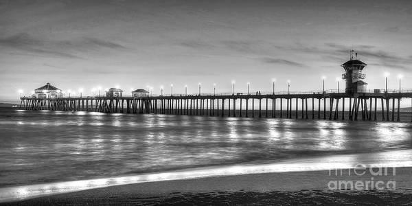 Huntington Beach Photograph - Huntington Beach Pier Twilight - Black And White by Jim Carrell