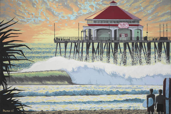 Surfer Painting - Huntington Pier by Andrew Palmer