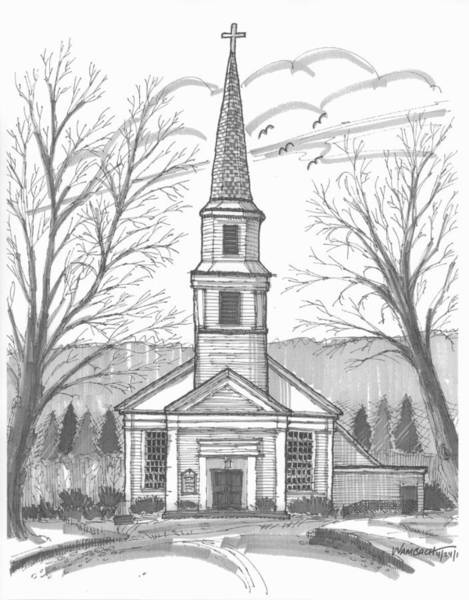 Drawing - Hurley Reformed Church by Richard Wambach