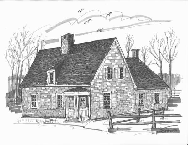 Drawing - Hurley Stone House by Richard Wambach