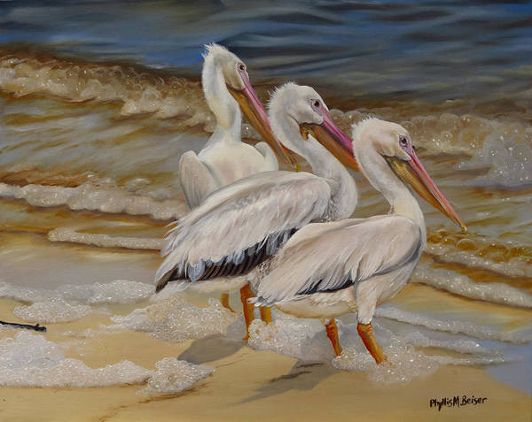 Wall Art - Painting - Hurricane Issac Pelicans by Phyllis Beiser