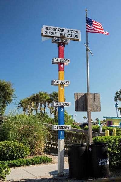 Tybee Island Photograph - Hurricane Storm Surge Warning Marker by Jim West/science Photo Library